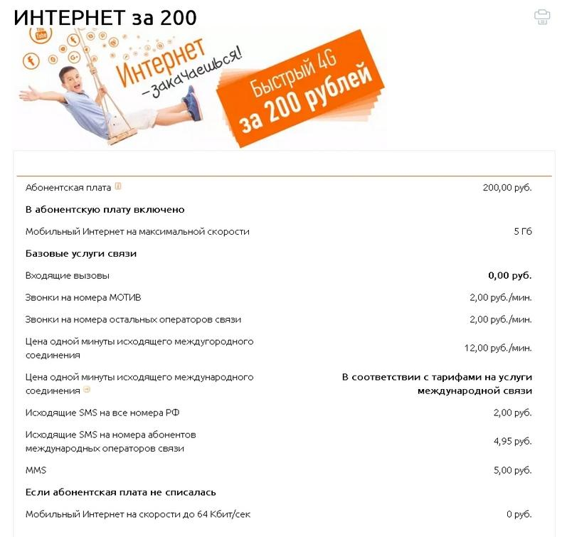 Интернет за 200 в месяц Мотив