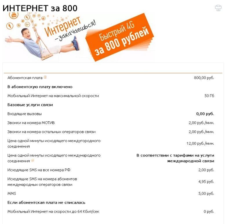 Интернет за 800 в месяц Мотив