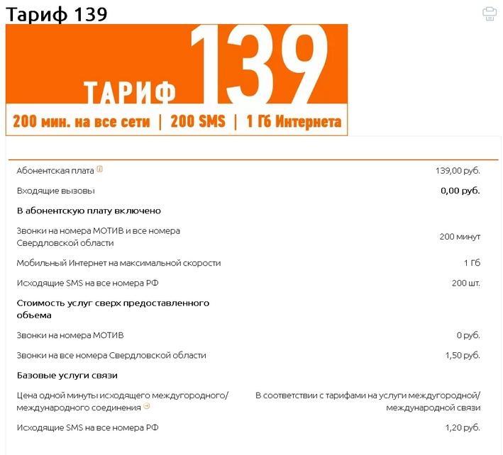 Тариф 139